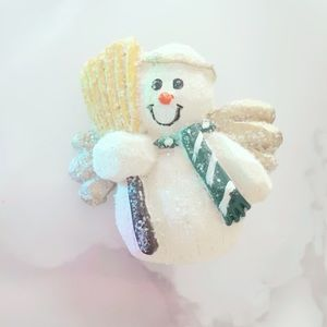 Cream Snowman Brooch Christmas Holiday